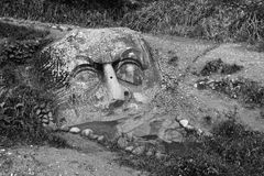 Black and white photograph of a large dilapidated stone heads (faces), cut, carved, hewn from solid rock buried in the ground. Stock Image