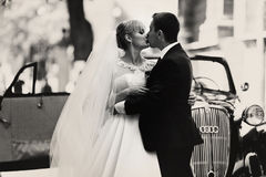 Black and white photograph of a wedding couple kissing behind a Stock Photography