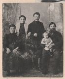 Black and white photographs old Russian family. Old Black and white photographs, a group portrait of Russian families stock images