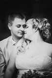 Black white  photography beautiful wedding  young couple stand on background forest Royalty Free Stock Images