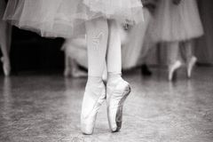 Ballerina is training in the dance hall. stock photos