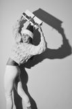 Black and white photography of happy dancing girl Stock Image