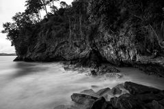 Black and white photography landscape sea waves. And rocks Stock Photography