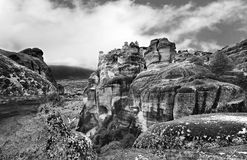 Black and white photography of Meteora Kalambaka Greece Stock Photo