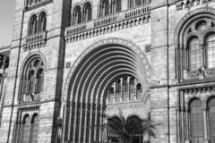 Black and white photography of the Natural History museum of London city. Black and white photography of the Natural History museum of London United Kingdom royalty free stock photo