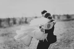 Black white photography bride and groom on the background trees Royalty Free Stock Image