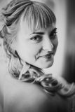 Black white  photography portrait of bride on the classic bright background Royalty Free Stock Photography