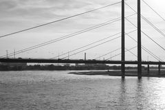 Black and white photography of Rheinkniebrucke bridge. And Rhine river with back light in Dusseldorf Stock Images