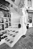 Black and white photography of shops at Hydra island Greece Royalty Free Stock Images