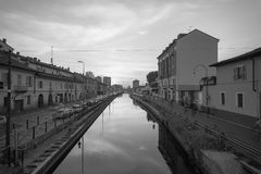 Naviglio Grande in Black and white. Black and white photography of the very popular Naviglio Grande water channel in Milan, Italy photo with beautiful tone of Stock Image