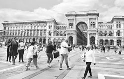 Black and white photography of the Vittorio Emanuele II gallery at Milan city Italy stock image