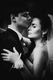 Black white photography wedding beautiful young couple stand on background forest Royalty Free Stock Images