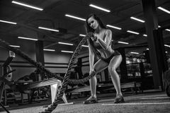 Black and white photography. Young beautiful girl sports a bodyb Stock Photo