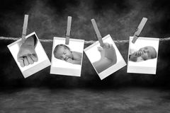 Black and White Photos Hanging on a Rope stock photo
