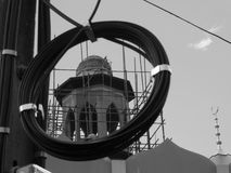 Black and white photos, power poles with unbreakable wires. Stock Image