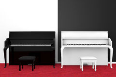 Black and White Piano with chair Royalty Free Stock Photography