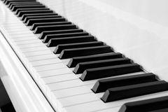 Black and White piano keyboard. A diagonal view of Black and White piano keyboard stock images