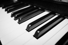 Black and white piano keys - close up in black and white Stock Photography