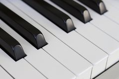 Piano keys close up, side view stock images