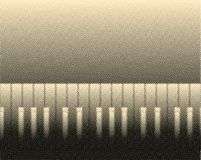Halftone Piano Background. Black and white piano keys with a half tone effect over sepia background Stock Photography