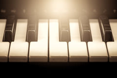 Black and white piano keys in vintage color tone Stock Image