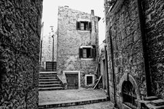 Black and white picture of buildings and steps Royalty Free Stock Photo