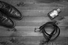Black and white picture of business man's accessories Stock Photos