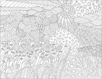 Coloring book page with beautiful landscape royalty free illustration