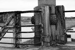 Black and white picture of corner wall. In the steel bridge on the river Royalty Free Stock Image