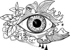 Black and white picture of an cosmic eye on a background of a landscape. Psychodynamic background vector illustration