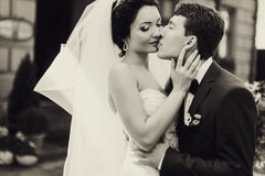 A black and white picture of groom kissing a bride delicately. A Stock Photos