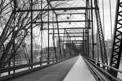 Black and white picture Harisburg crossing walking bridge in Pen Royalty Free Stock Photos