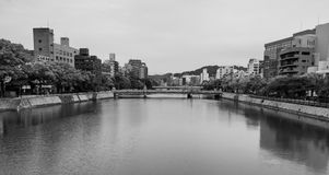 Black and white picture of Hiroshima city Royalty Free Stock Images