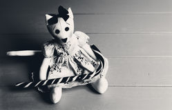 Black and white picture of homemade toy in the form of a cat in Royalty Free Stock Photos