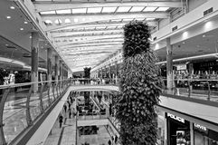 Black and white picture of the mall. Black and white picture of the huge mall in the town Royalty Free Stock Photos