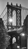 Manhattan Bridge seen from Dumbo at dusk, New York. Black and white picture of the Manhattan Bridge seen from Dumbo, neighborhood of Brooklyn at dusk, New York stock photos