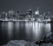 Black and white picture of New York City night skyline, USA Stock Photo