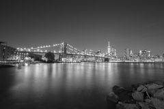 Black and white picture of New York City waterfront. Stock Images