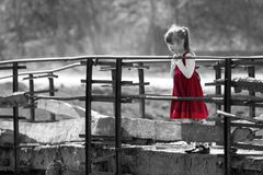 Black and white picture of pretty blond child girl in red dress stock images