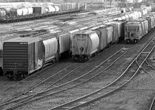 Black and white Picture of a Railyard. In Grand Rapids MI Royalty Free Stock Photos