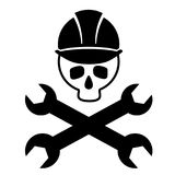 Black and white picture of the skull in the construction helmet with crossed wrenches. Icon skull. Isolated. Vector Image. Royalty Free Stock Photos