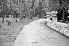 Black and white picture of stone fence Royalty Free Stock Photography