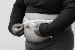 Black and white picture style for Close-up of fat woman on white background. Concept for obesity issue, diet of food for health Royalty Free Stock Images