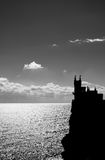 Black and white picture of Swallow's Nest castle Royalty Free Stock Image