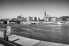 Black and white picture of Szczecin Stettin waterfront. Stock Photos
