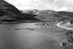 Black-and-white picture of Vikafjell in Norway royalty free stock photography