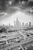 Black and white picture of Warsaw downtown at sunset. Stock Photos
