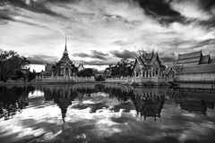 Black and white picture, Wat Lai, temple,  Monochrome. Water Reflections Stock Photography