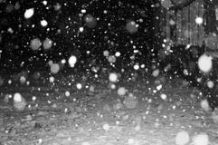 Black and white pictures in the night of the first snowfall in my street. In a small village in Serbia Royalty Free Stock Images