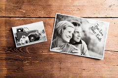 Black-and-white pictures of senior couple. Studio shot on wooden. Various black and white pictures of senior couple in love. Studio shot on wooden background royalty free stock images